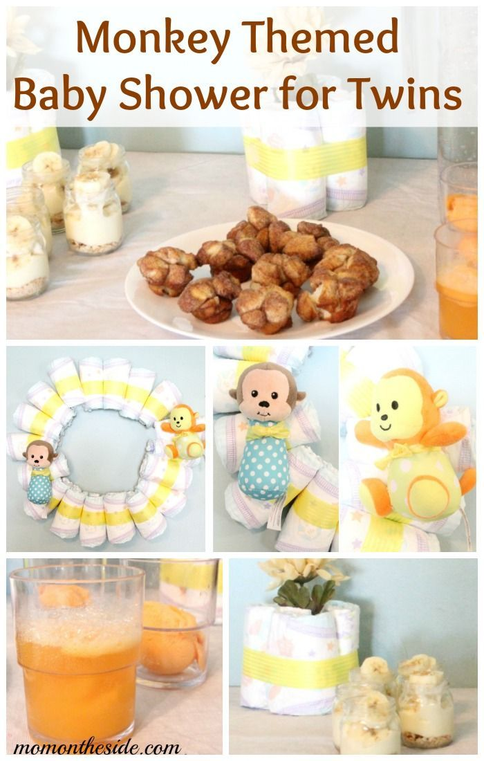 Monkey Themed Baby Shower for Twins with ideas for food, drink, decor, and games! #SuperAbsorbent ad
