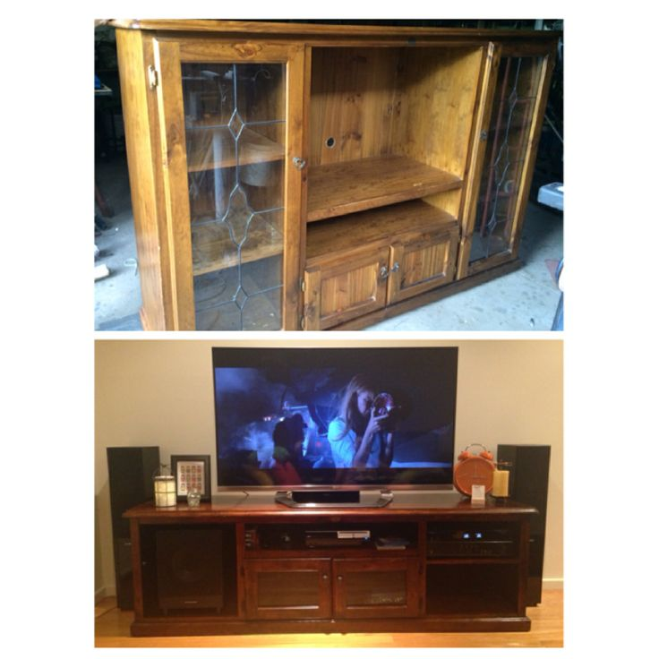 A before  after of our newly renovated TV unit! #DIY #decor #tvunit #furniture
