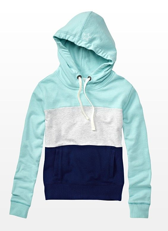 Color Block Hoodie  - Garage......hmm, thinking....you could add a couple of too short hoodies to to the top you like that is also too short?