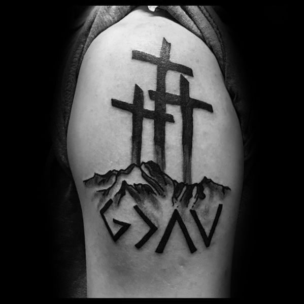 Christian Cross Tattoos for Men | Mens Religious Cross Arm God Is Greater Than The Highs And Lows Tattoo ...