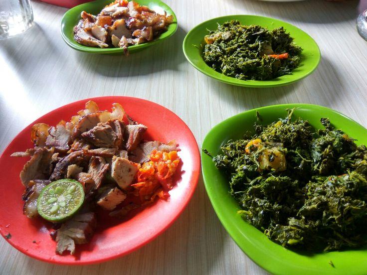 Khas Makassar timur ~ Sayur daun ubi & panggang