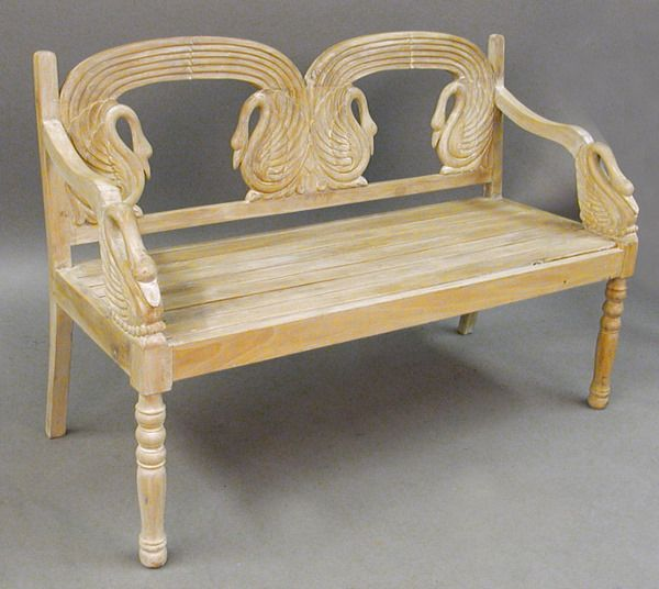 Delightful FRENCH STYLE CARVED PINE SWAN FORM BENCH.