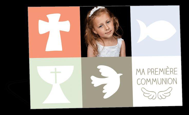 Faire part de première communion symboles catholiques sur carrés pastels