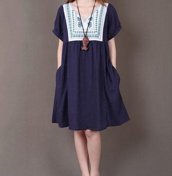 Dark blue linen dress Original dress Folk style clothes maxi dress cotton dress casual blouse cotton skirt embroidered dress plus size dress on Etsy