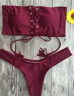 Egyszínű+Pánt+nélküli+Bikini+Poliészter+–+EUR+€+12.22