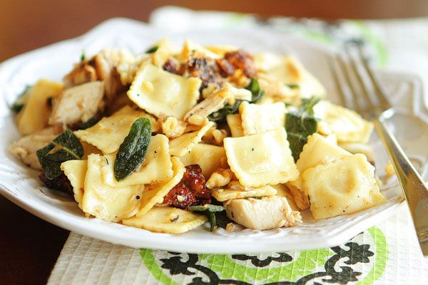 Brown Butter Ravioli with Rotisserie Chicken, Toasted Walnuts and Crispy Sage | Kevin & Amanda's Recipes