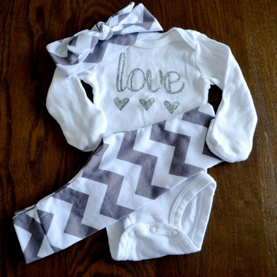 Baby Girl Gift Set - Chevron Leggings, Headband and Onesie Set - Love onesie… In Stock • $34 | etsy.com
