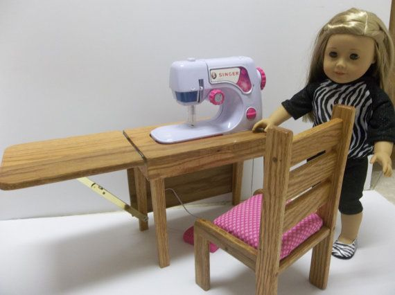 Sewing Machine Table & Chair for American by AllDolledUpInPeoria, $75.00