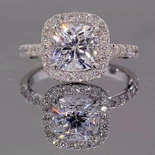 Halo Inline Ring || Princess Cut Diamond Halo Ring With White Diamond In 14K…