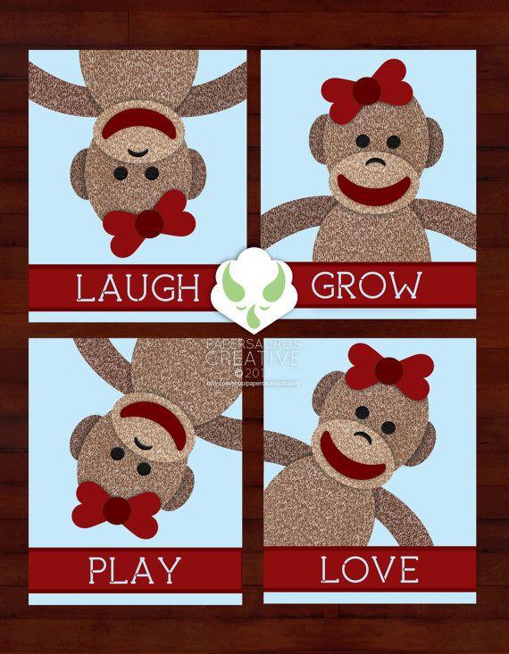 Prints - sock monkey messages set of four 8X10 prints - nursery, art, boy or girl on Etsy, $25.00
