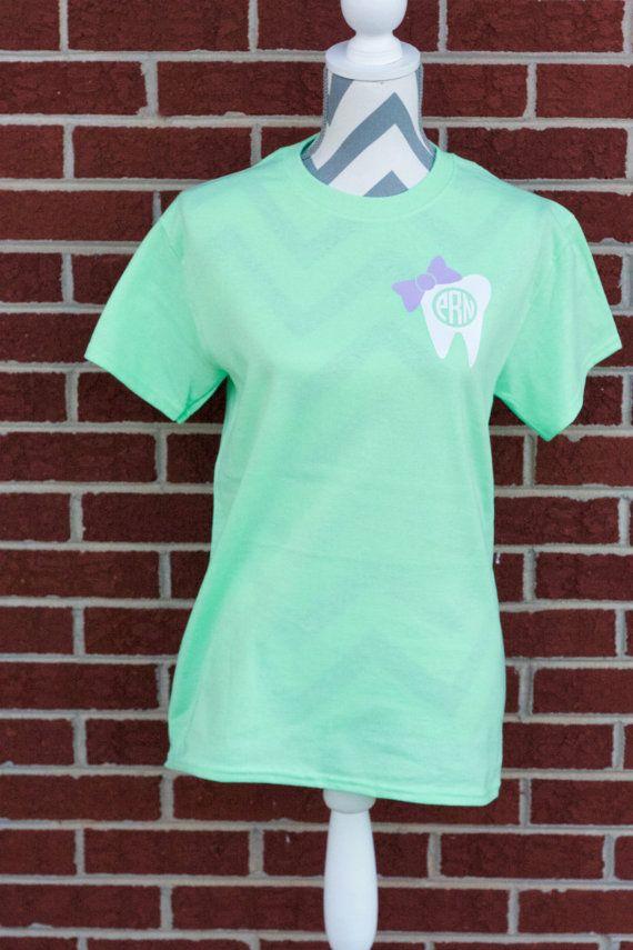 Monogrammed Bow Dental Short Sleeve Shirt. by ElleQDesigns on Etsy