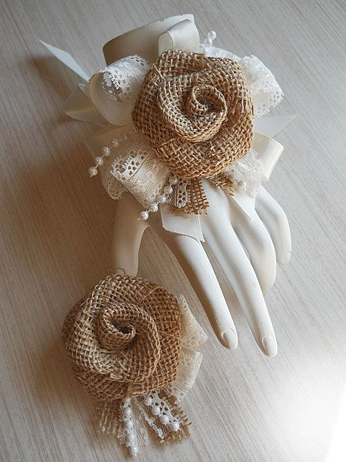 Country Burlap Rose & Lace Wrist Corsage and/or by PapernLace