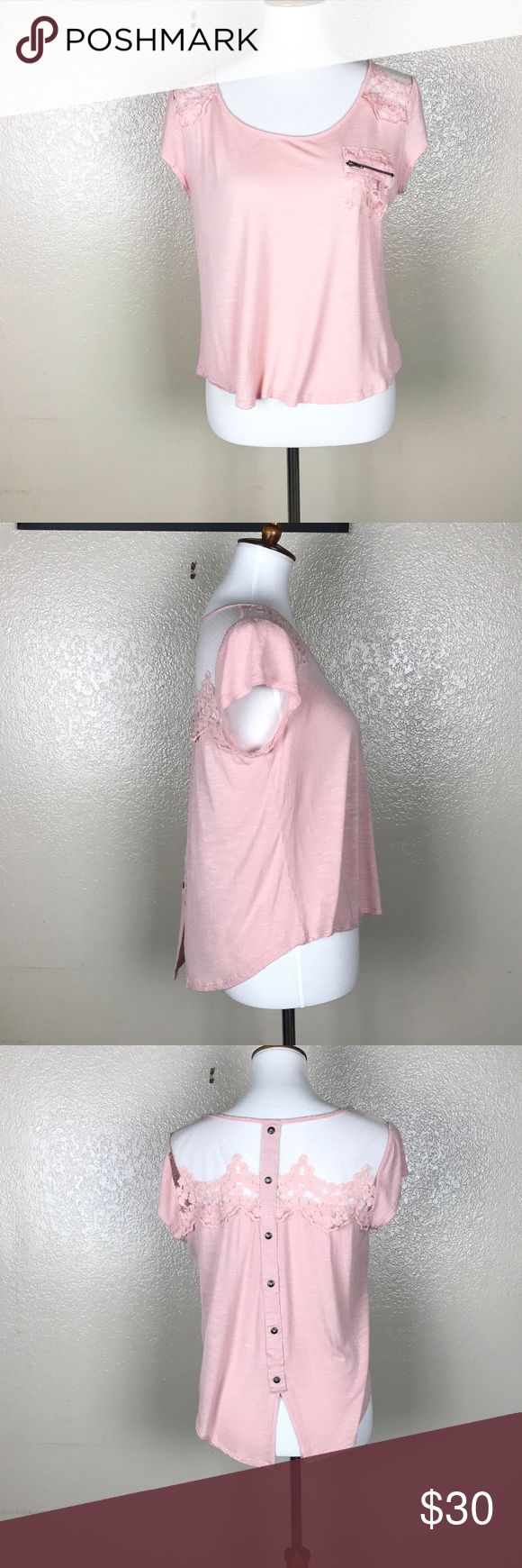 "E (Hanger) M Soft Pink Short Sleeve Top Size M NWOT  It such an adorable shirt it has a slit with buttons down the back 18"" armpit to armpit, 11.5 armpit to hem 20.5 Shoulder to hem Shelf: 100%  Rayon , Contrast: 100% Polyester Anthropologie Tops Blouses"