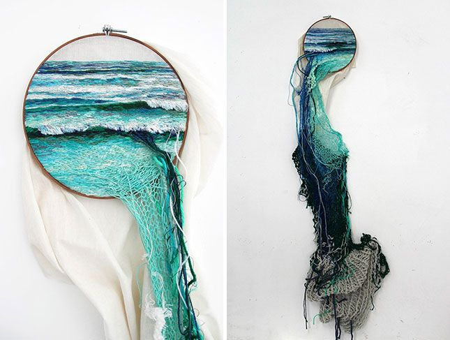 The truth is, we don't generally associate embroidery with being new-age, modern or, let's face it, cool. Artist Ana Teresa Barboza, however, is completely turning that stereotype around with her latest embroidered natural landscapes that are literally so cool they jump out of their frames
