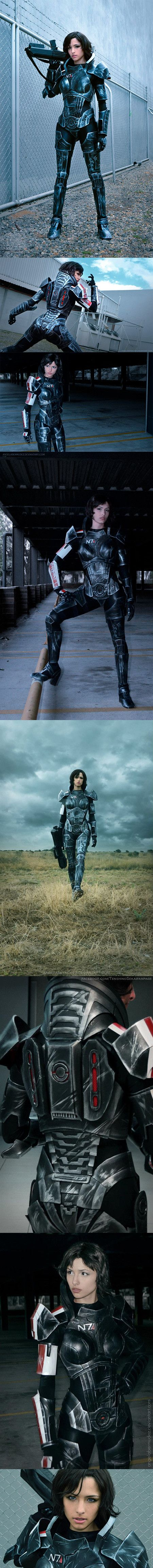 Take a moment and raise your pulse rifles for this incredible Mass Effect N7 'Fem Shepard' cosplay by ANGELA BERMUDEZ. The entire suit and make up were done by herself and, I have to admit she looks badassingly spectacular.
