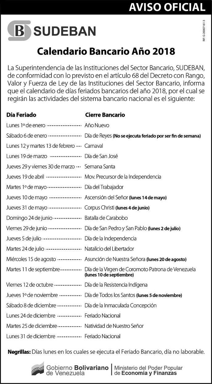 Calendario Bancario Venezuela 2018