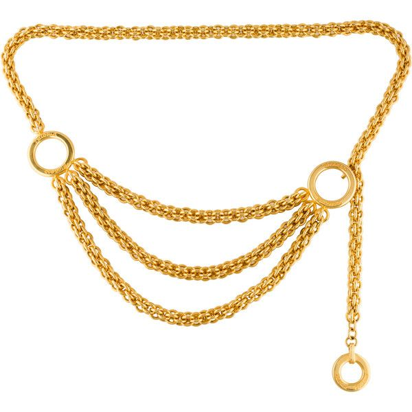 Paloma Picasso Draped Chain-Link Waist Belt (375 CHF) ❤ liked on Polyvore featuring accessories, belts, gold, gold chain link belt, waist belt, chain link belt, paloma picasso and gold waist belt