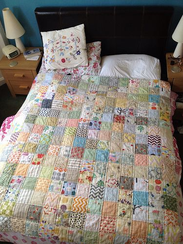 I love how the double rows of quilting add another dimension to the quilt. Low volume quilt by aejclarke2