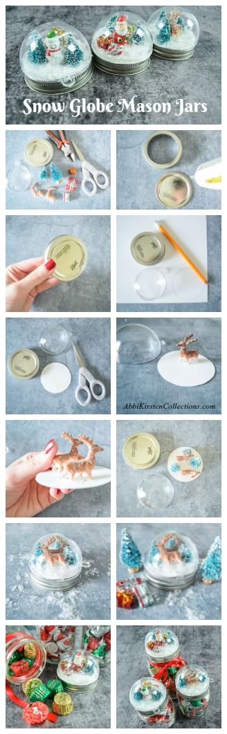 DIY Snowglobe Mason Jar Craft. Christmas craft ideas.