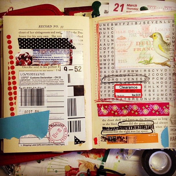 Art journal inspiration. Original pinner sez: Would be good to use as a scrapbook...although I hate the idea of using a book like that. :(