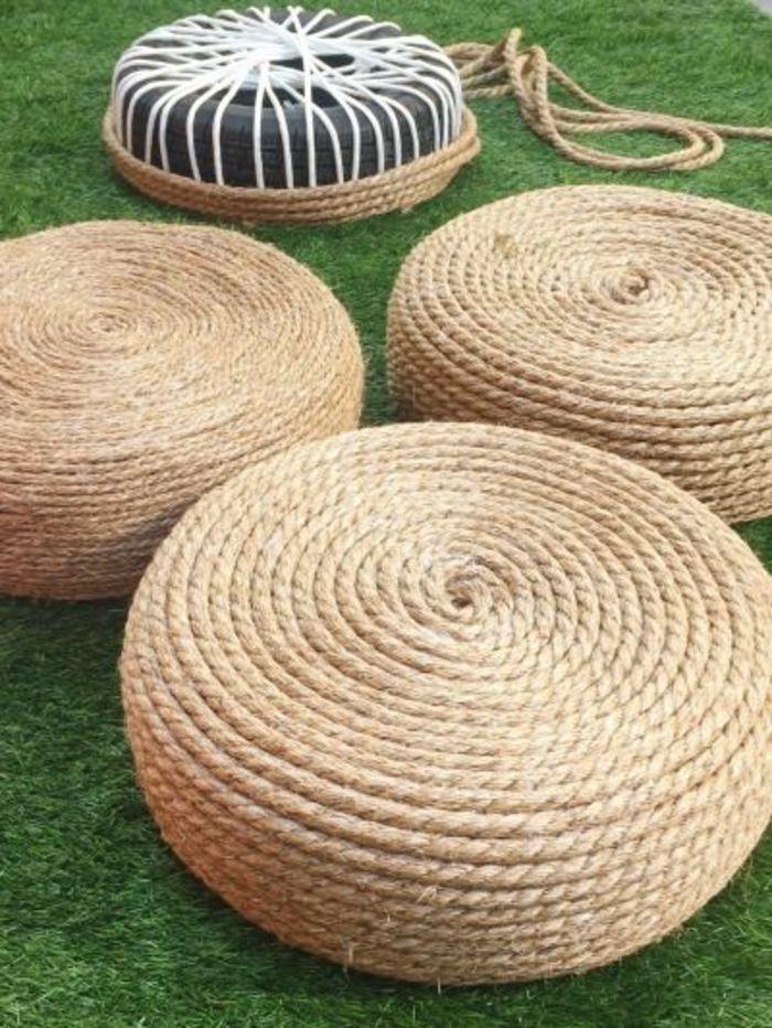 Rembourrage Pour Pouf #7: Fabriquer Un Pouf Pour Le Jardin, Pouf En Pneu Et Corde