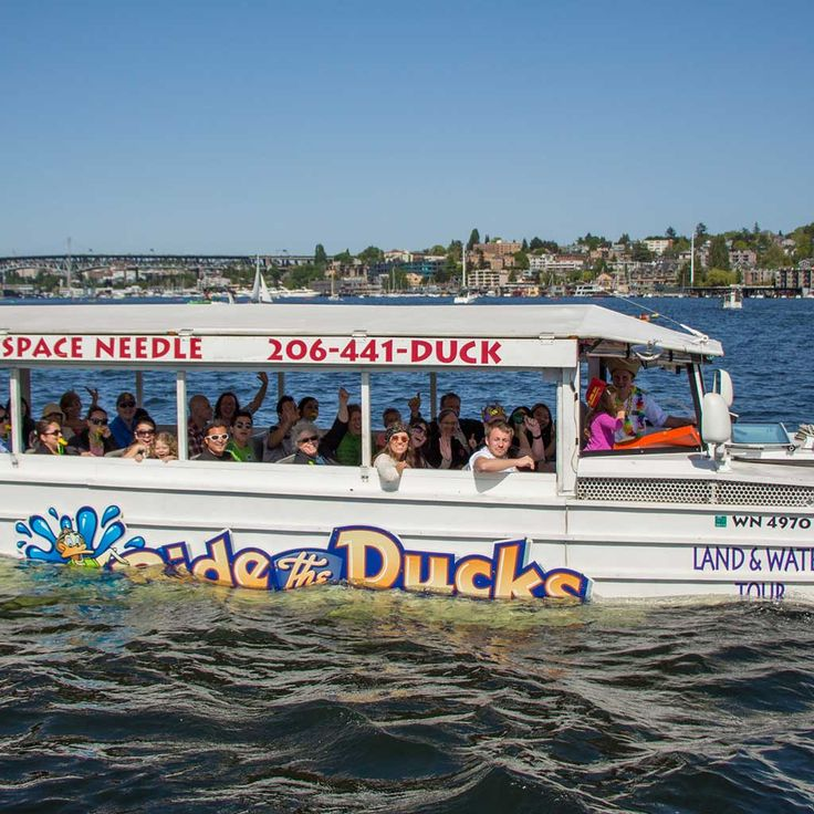 Ride the Ducks of Seattle:  Tour Seattle by land and water on a WWII amphibious landing craft! You'll view all the must-see sites of Seattle. Along the way, your Wacky Tour Guide will entertain with colorful stories about the city's history, jokes, music, and more! It's a party on wheels that floats!  #Outdoors #SeattleOutdoors #SeattleLiving #SeattleLife #SeattlePulse #VisitSeattle #SeattleWa