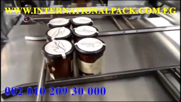 الماكينة الاولى لتغليف البرطمانات برول بولي اولفين شرنك التغليف بالنايلو Food Desserts Pudding