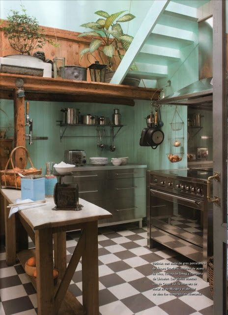 "This is the most precious kitchen. It is the preciousest. The preciousness just radiates off of it. (I'd do the walls in a terra cotta, I think, to avoid the ""hospital green"" implication, but I think this works even with a shade of green of which I normally disapprove.)"