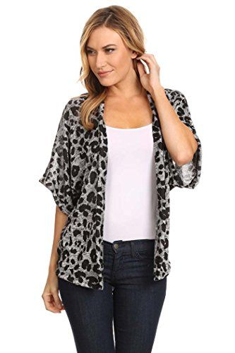 Women's Animal Print Short Sleeves Loose Fit Cardigan. MADE IN USA (M, ANI-GY)