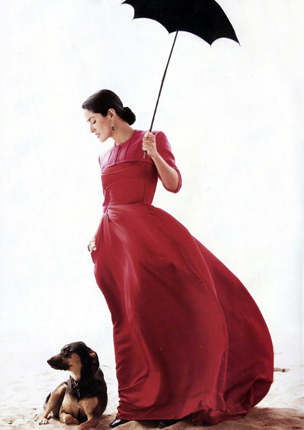 Salma Hayek & Dog by Mario Testino.