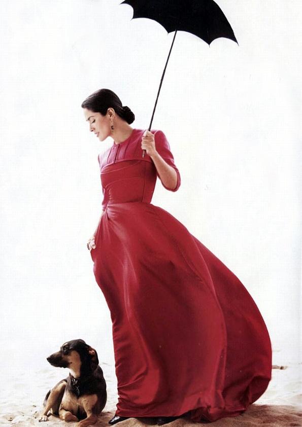 Salma Hayek & Dog by Mario Testino.