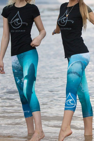 Yoga Pants, Ocean Capris, Paddle & Surf gear, Great White Shark-Ocean Ramsey Photo and Signature Design