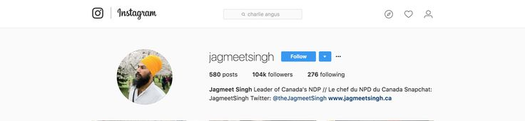 Huge following. other candidates are trailing behind with barely a tenth of Jagmeet Singh's followers.