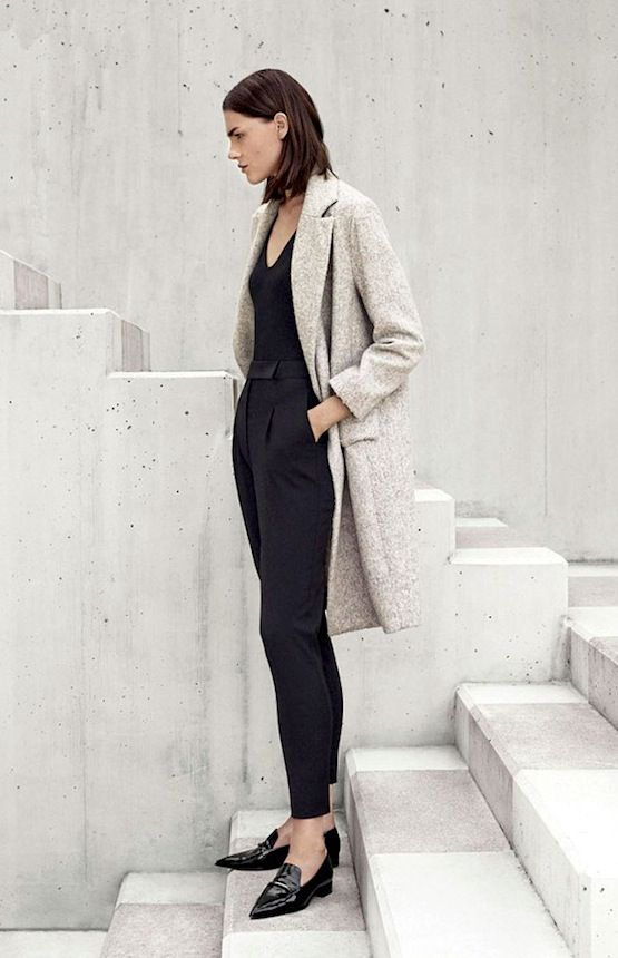 Neutral Coat, Black top, Black cropped pants & Patent pointed toe loafers.