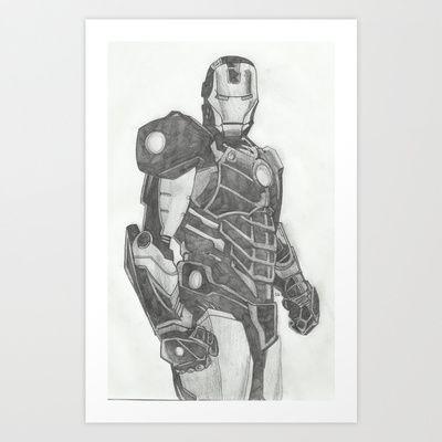 Iron man sketch. Art Print by Steve Goddard Scribbles. - $13.52