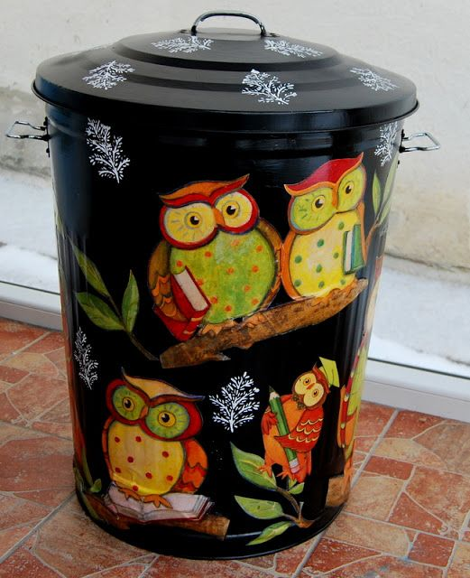 Have an old metal trash can! Great idea! Not crazy about the owls but could do a different design!