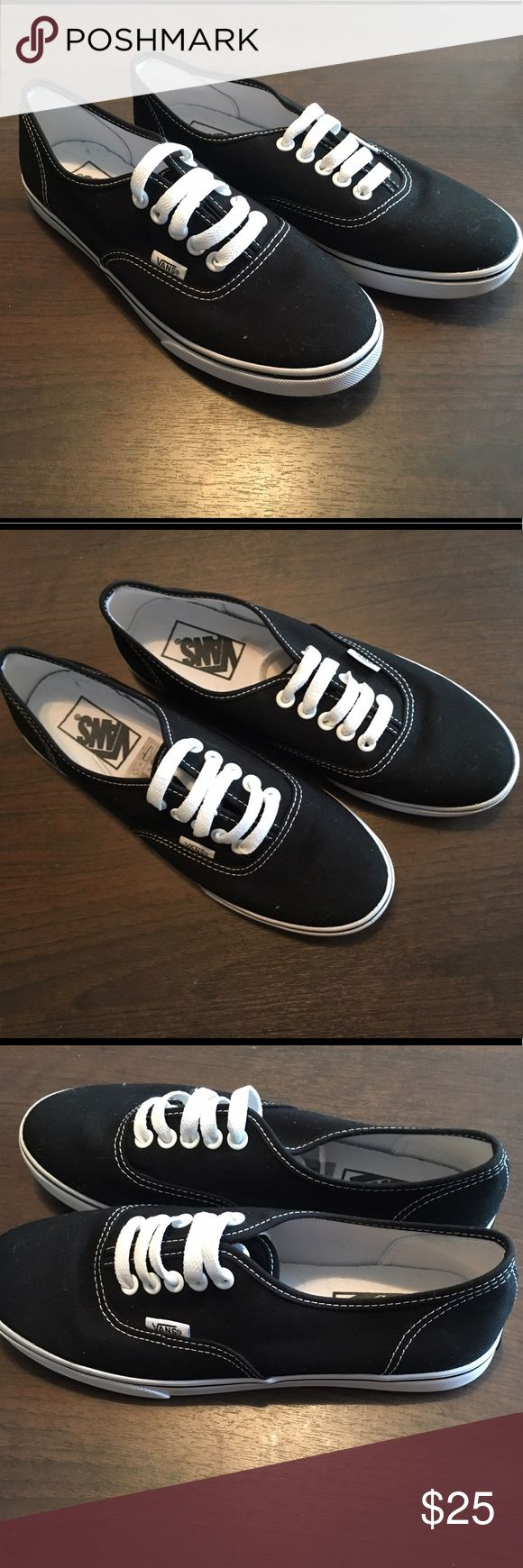 Vans Authentic Lo Pro Skate Shoe Size 7 Worn only like 2 times. Purchased from Journeys. Authentic Vans, women's size 7. You can't see the full laces in the photos but they're tucked into the shoe - not slip ons. Plain black with white laces/stitching/detailing. Vans Shoes Sneakers