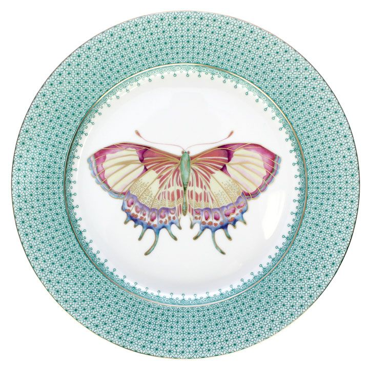 Our NEW Green Lace Butterfly Dessert Plate. Fresh for spring! Also comes in three other colors (Cornflower Lace, Apple Lace, and Golden Teardrop).