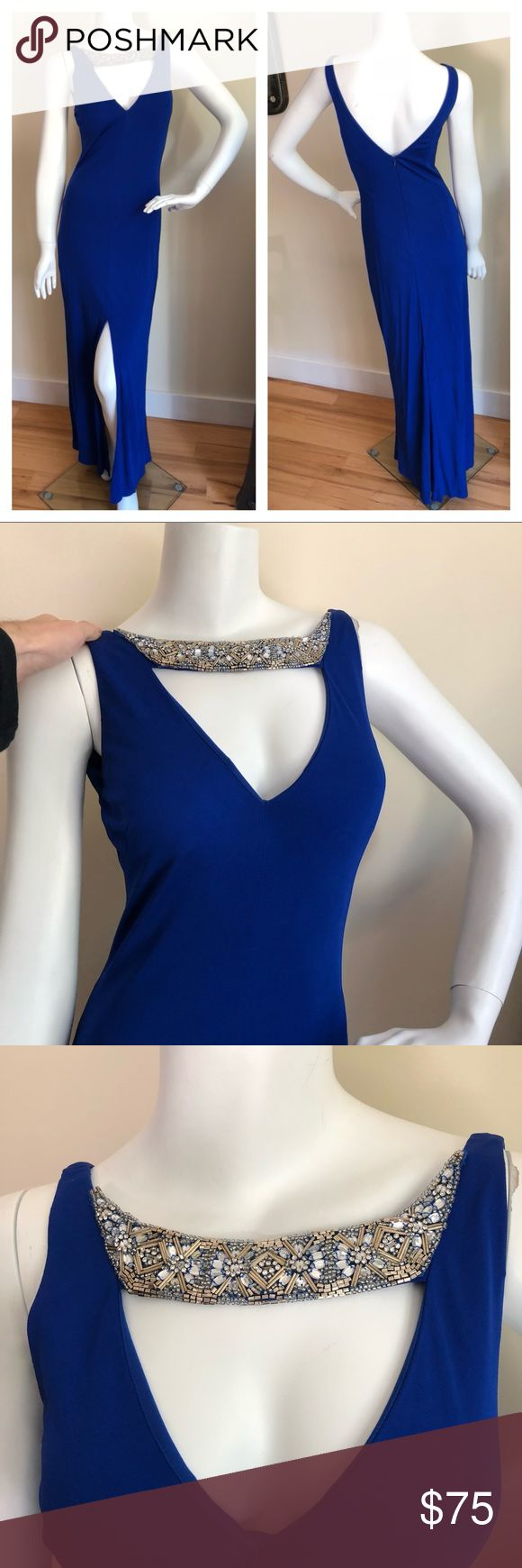 "NEW Aidan Mattox cobalt evening gown New with tags cobalt blue Aidan mattox full length evening gown. Front slit. Has busy pads so can wear without a bra. Front silver beading detailing. I don't model. Lined. Viscose. Length 58"" pit to pit 16"". Aidan Mattox Dresses"