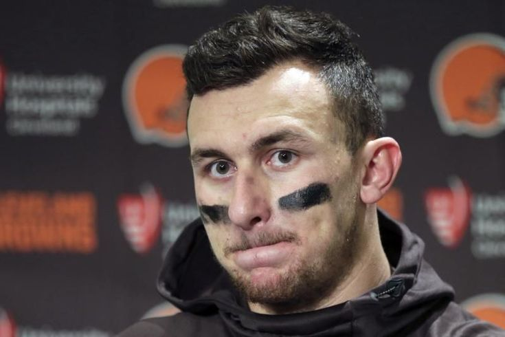 FILE - In this Dec. 20, 2015, file photo, Cleveland Browns quarterback Johnny Manziel speaks with media members following the team's 30-13 loss to the Seattle Seahawks in an NFL football game in Seattle. New Orleans Saints coach Sean Payton shot down a report that his team had interest in troubled quarterback Johnny Manziel. They did meet during Super Bowl week, but Payton called the report the team was considering adding Manziel #footballnflteams