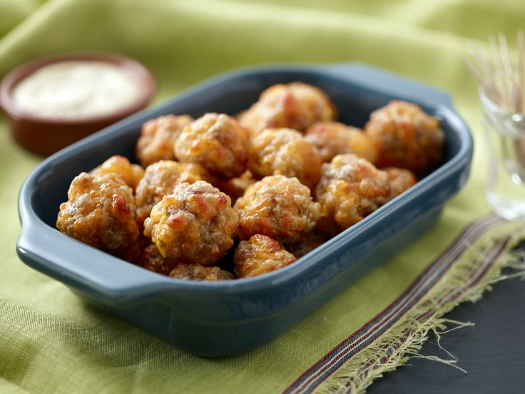 Sausage Balls from FoodNetwork.com. Great for Christmas parties!