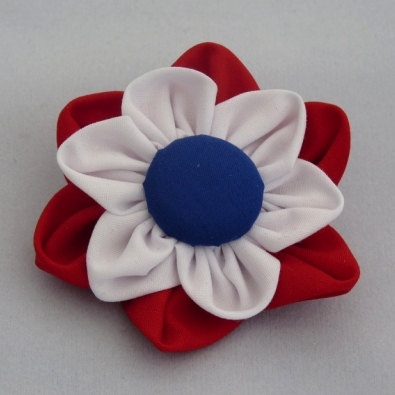 Handmade Corsage Brooch in Red White and Blue by PaulinesCraftsUK, $6.00