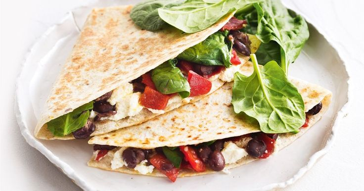 For a healthy 10-minute meal try this toasted chilli black bean, spinach and cheese tortilla.