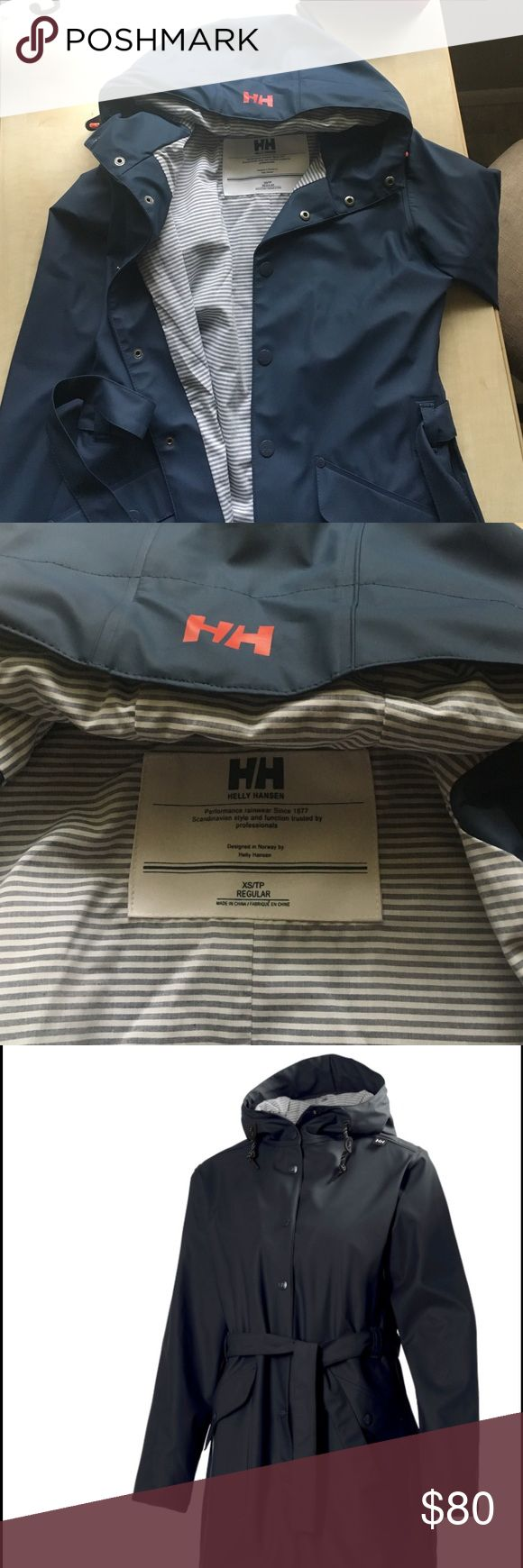 Helly Hansen Kirkwall Raincoat Like new navy blue Kirkwall rain jacket! Only worn a few times. White and light blue striped interior. Size xs. Super cute and slimming fit! Last photo is just to show the whole jacket, not actual photo :) Helly Hansen Jackets & Coats Trench Coats