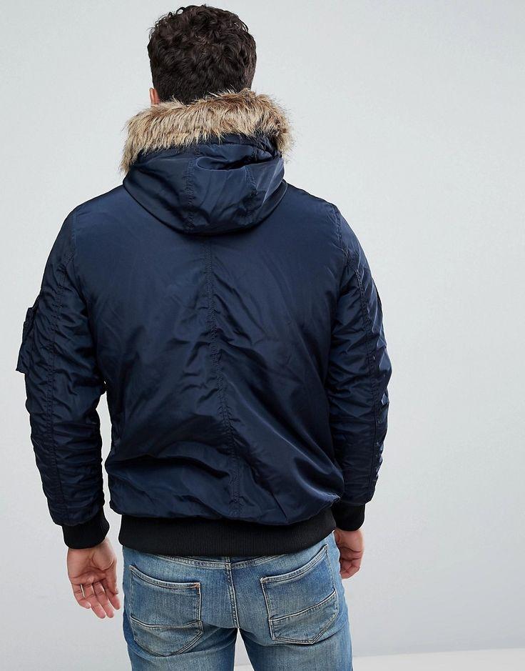 Jack & Jones Jacket with Faux Fur Hood - Navy