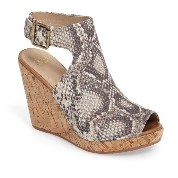 Women's Johnston & Murphy Mila Slingback Platform Wedge Sandal ($117) ❤ liked on Polyvore featuring shoes, sandals, snake print leather, wide width shoes, python sandals, wide fit sandals, slingback shoes and peep toe shoes