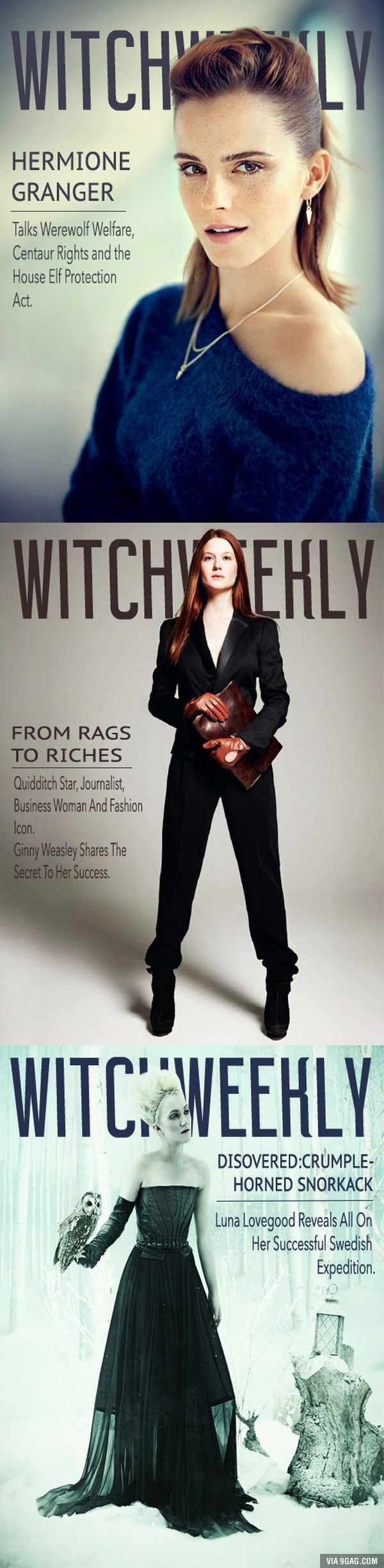 Witch Weekly Covers - Hermione Granger, Ginny Weasley, and Luna Lovegood