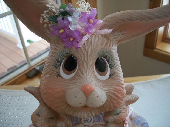 ceramic Easter Bunny Mama with baby bunnies by CathysCeramics