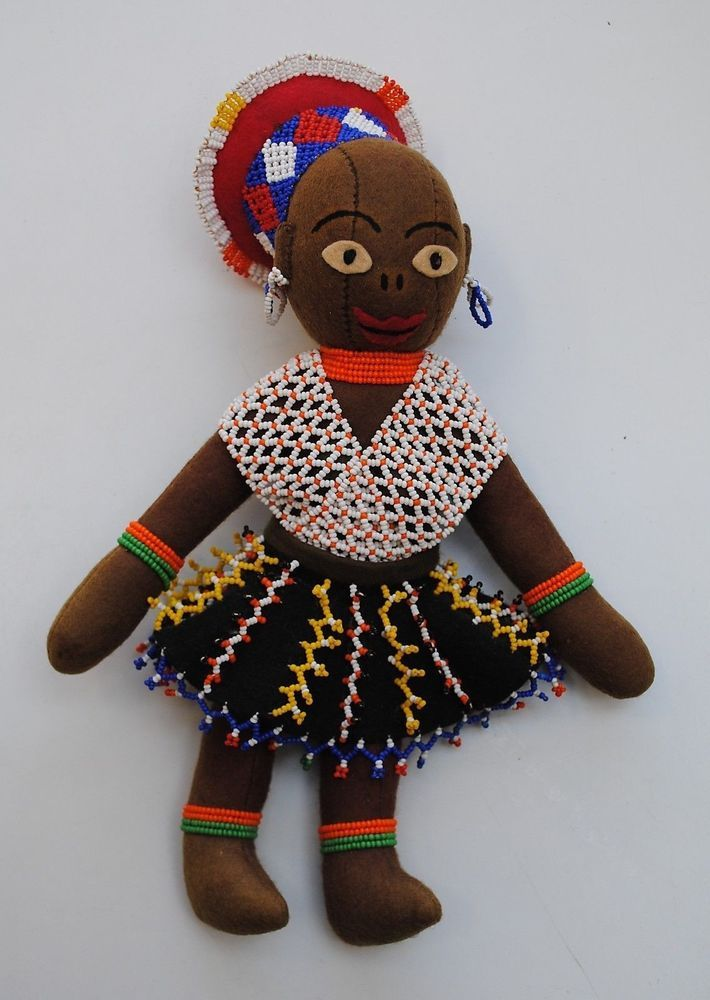 African 1950`s Zulu Handmade Beaded Durban Red Cross Doll ...