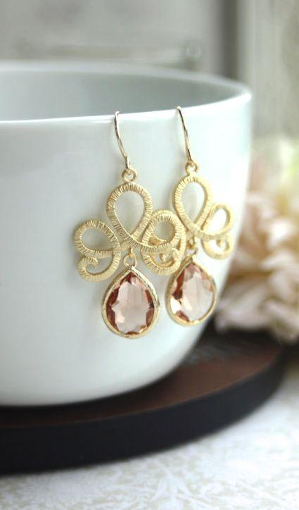 Matte Gold Plated Filigree Scroll Peach Glass Pear Gold Drop Dangle Earrings. Peach Wedding | By Marolsha.